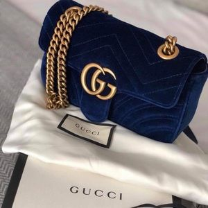Authentic Gucci Mini Quilted Velvet Marmont Bag